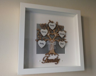 Personalised Wooden Family Tree Box Frame, Keepsake Gift Anniversary