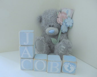 Personalised Wooden Name Blocks New Baby, Christening, Nursery Gift Handcrafted