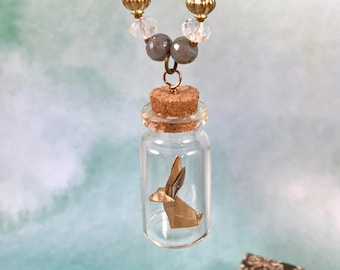 Origami Bunny Jar Necklace - Gold