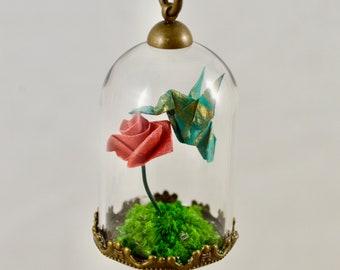 Origami Hummingbird Terrarium Necklace