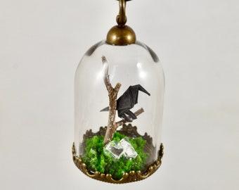 Origami Crow Terrarium Necklace
