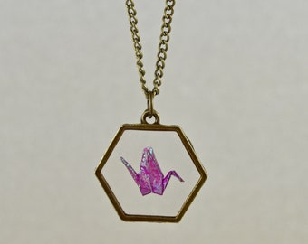 Origami Crane Resin Hexagon Necklace - Magenta