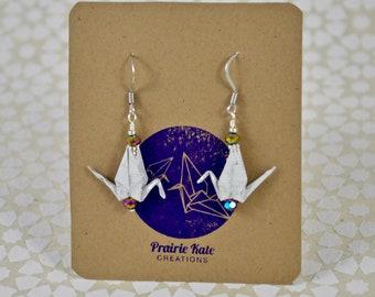 Origami Crane Earrings: White Rainbow