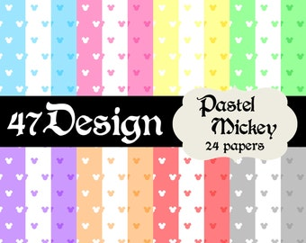 Pastel Mickey Digital Scrapbook Paper 24 12x12 300dpi jpeg jpg Printable Papers