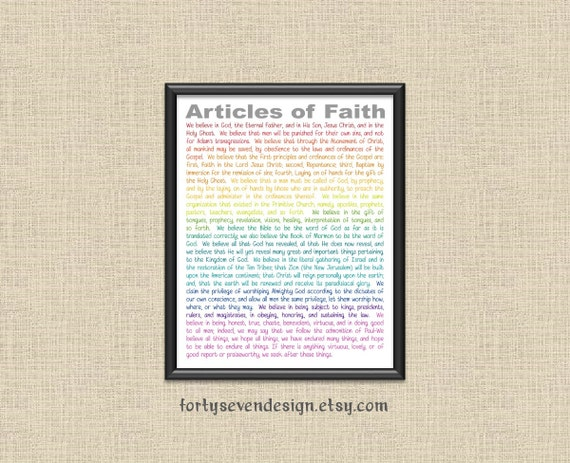 photo regarding 13 Articles of Faith Printable titled LDS 13 Content material of Religion Printable Wall Artwork through 40 7