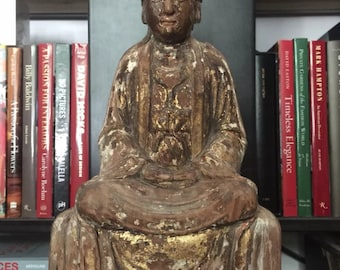 Antique Chinese Hand Carved Wood Buddha