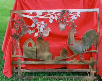Rooster and Farm Scene Metal Art