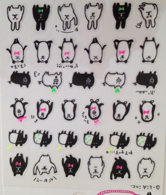 Items similar to Japan Qlia kawaii ANIMALS sticker sheet