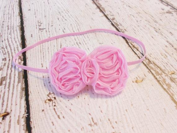 mousseline de soie bow bandeau pastel pink nouveau n etsy. Black Bedroom Furniture Sets. Home Design Ideas