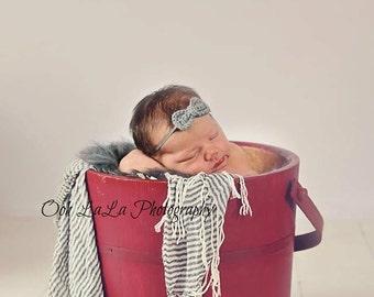 Crochet Bow Headband-Newborn to adult- Heather Grey