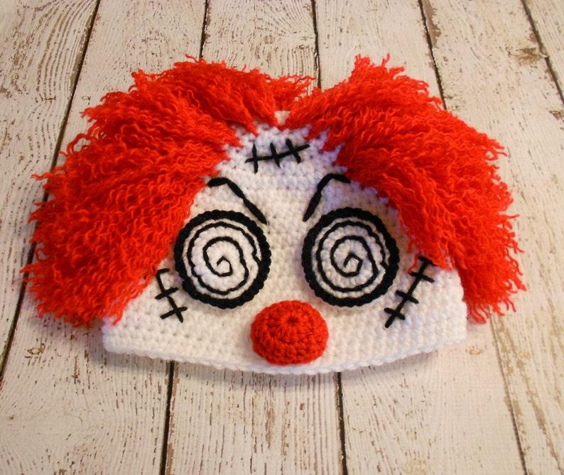 Crochet Hypnotic Clown Hat Halloween Hat Newborn to Adult
