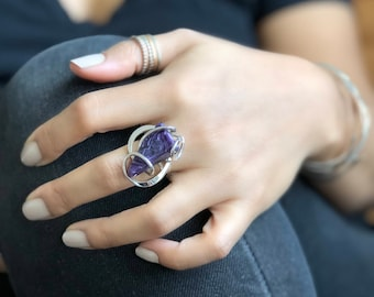CHAROITE WAVE RING // Adjustable Ring, Charoite Ring, Purple Ring, Purple, Wirewrap Ring, Silver Ring, Sterling Silver Ring, Wire Ring