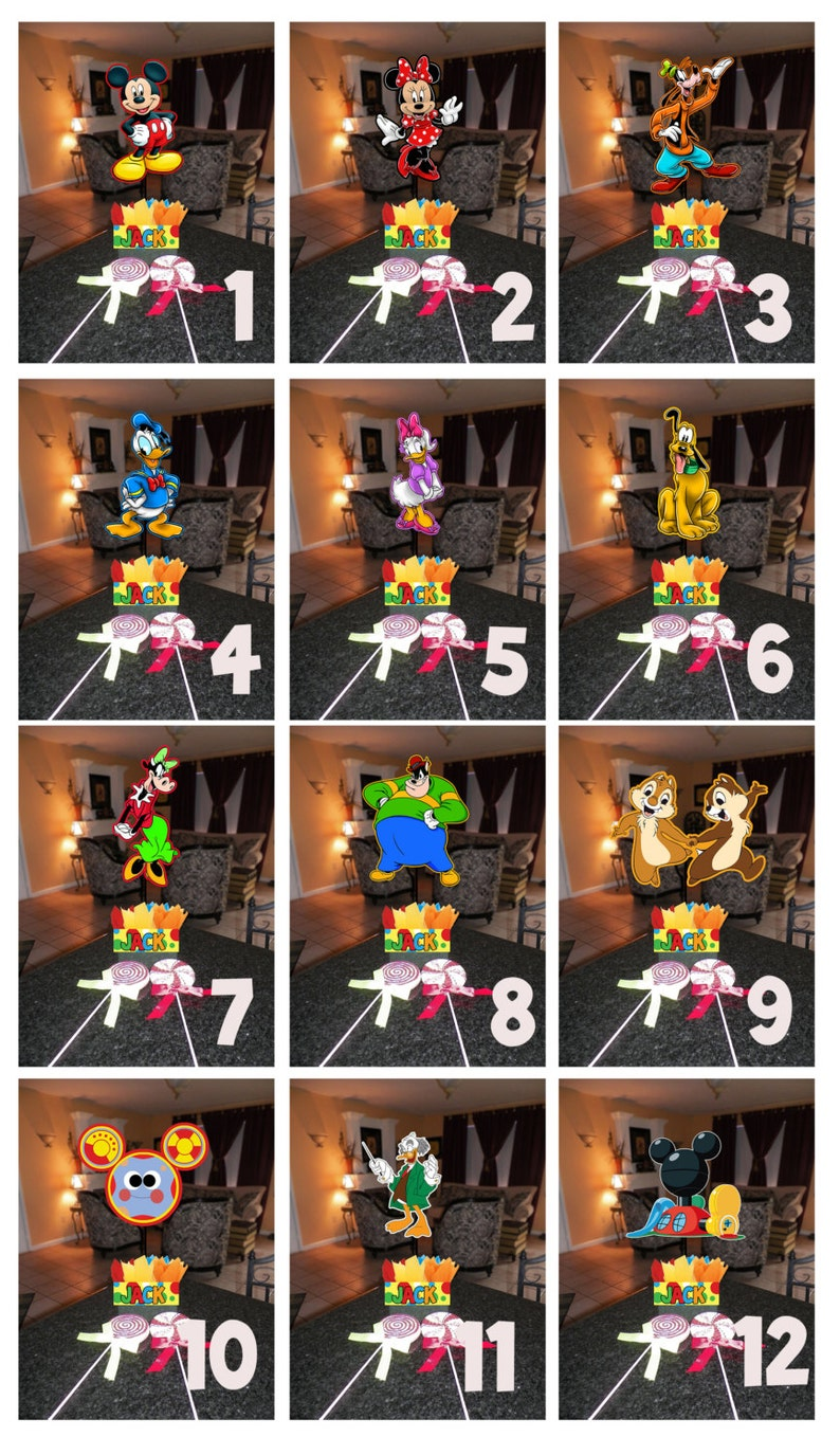Diy 12 Small Mickey Mouse Birthday Party Centerpieces Free Kit 1st Birthday Mitzvah Baby Shower Clubhouse Minnie Goofy Donald Centerpiece