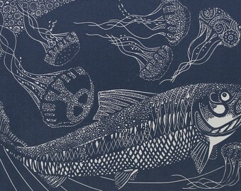 Linocut of a Trout with Jellyfish