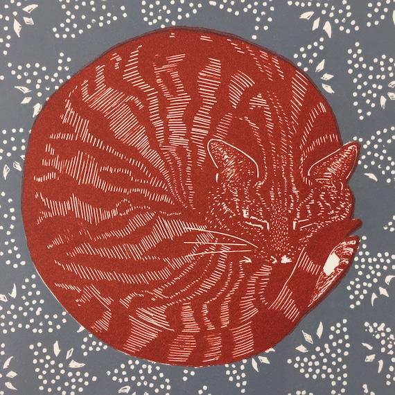 Linocut of a Sleeping cat