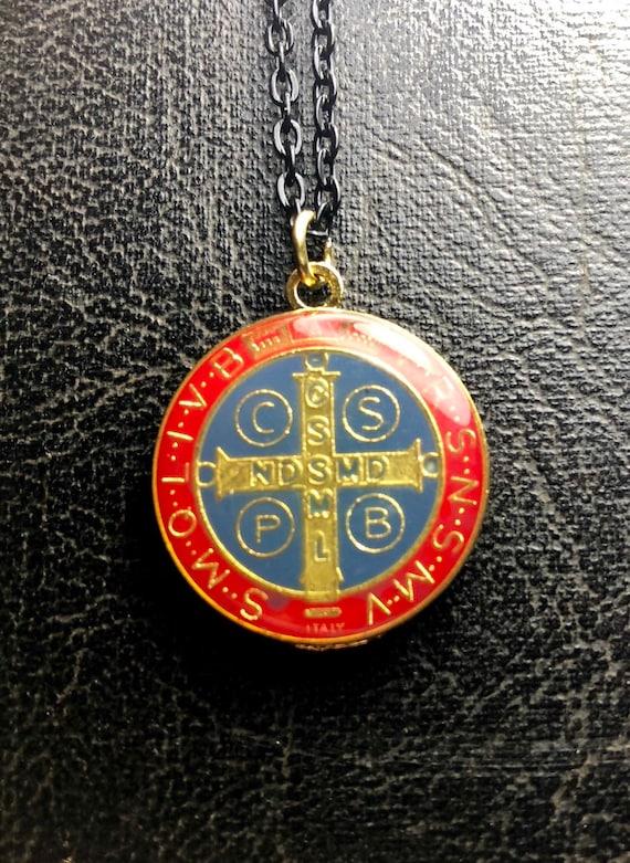 14K Gold Saint Benedict Medal Red /& Black Enamel Pendant