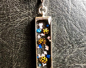 Ladybug Swarm Cluster Preserved Specimen in Resin Real Flowers Long Window Frame Insect Entomology Collection Necklace Lady Bug Love