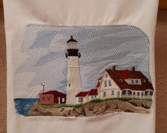 Embroidered lighthouse hand towel, Portland, Maine Head Light