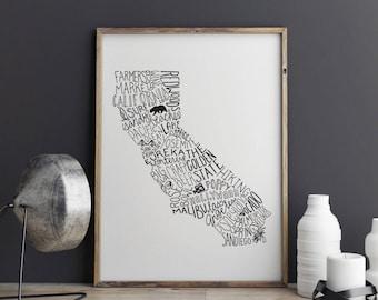 State of California Typography Print; Wall Decor; Christmas Gift; Wall Art; Wedding Anniversary Engagement Graduation Gift Decor