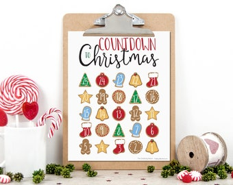 Christmas Countdown Print - Digital Download Advent Calendar Printable Holiday Art
