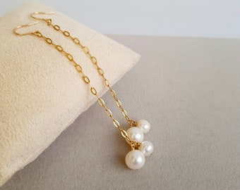 Double pearl earrings, Pearl dangle, Long chain earring, bridal rarring, Perfect gift for her, June's birthstone: pearl