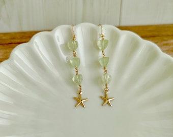 Three Stone Drop Earrings, Dainty Green Earrings, Simple Minimalist Gift, Green Prehnite Gold Earring, Elegant delicate earrings