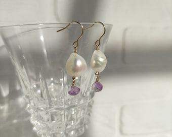 Baroque Pearl and Amethyst Earring, Minimal jewelry, Pearl earrings, Wedding jewelry, bridesmaid gift