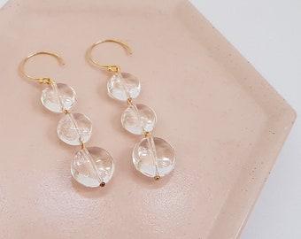 3 Quartz Drop Earrings, Long earrings, Classic 3 Drop Earrings, Gift for mom, Gift for her, Christmas gift idea for mom, mother's day gift