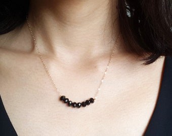 Pearl Bar Necklace, Black Spinel Bar Necklace, Bridesmaid Gift, wedding jewelry, Bridal jewelry