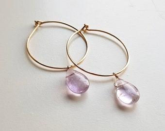 Amethyst 2way hoop earrings, Gold hoops, Simple dainty earrings, Thin Gold Hoop Earrings, Hoops with gems, Minimalist earrings