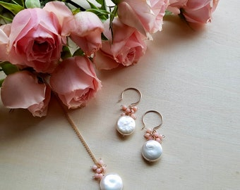 Coin Pearl earrings, Freshwater pearl earrings, White Coin Pearls, Flower inspired Dahlia earrings, Bridal jewelry, wedding day jewelry