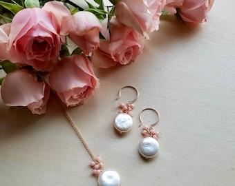 Dahlia jewelry set, Bridal jewelry, Coin Pearl earrings, Wedding Jewelry, Bridesmaid Jewelry, Beach Bridal jewelry