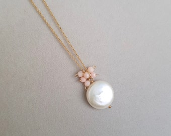 Coin pearl necklace, Bridal jewelry, Gold Pearl Jewelry, 14k Gold Filled Chain, Pearl Wedding Jewelry, Bridesmaid Jewelry