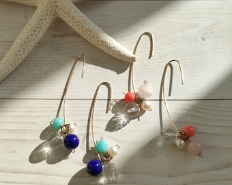 Summer Breeze and Spring Breeze, mixed stone jewelry, Ocean Beach Jewelry, Beach Lover earrings, Beach Earrings, Minimalist Earrings