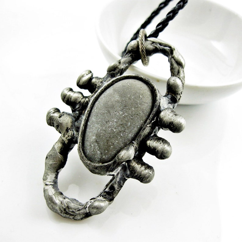 e08b6c2239135 Men Pendant Men Necklace • stone rustic silver mens necklace for men gift  for him mens jewelry crystal pendant