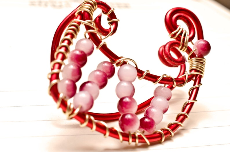 Red and gold beaded ear cuff