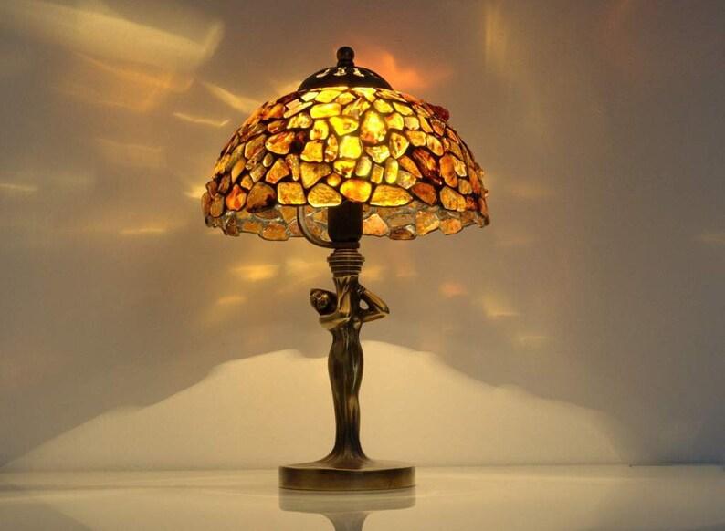 TableVitrailChevetAbat TeintéAvec Lampe Chevet En FemmeArt Deco BaltiqueDe Jour Verre Ambre EQoerdxWCB