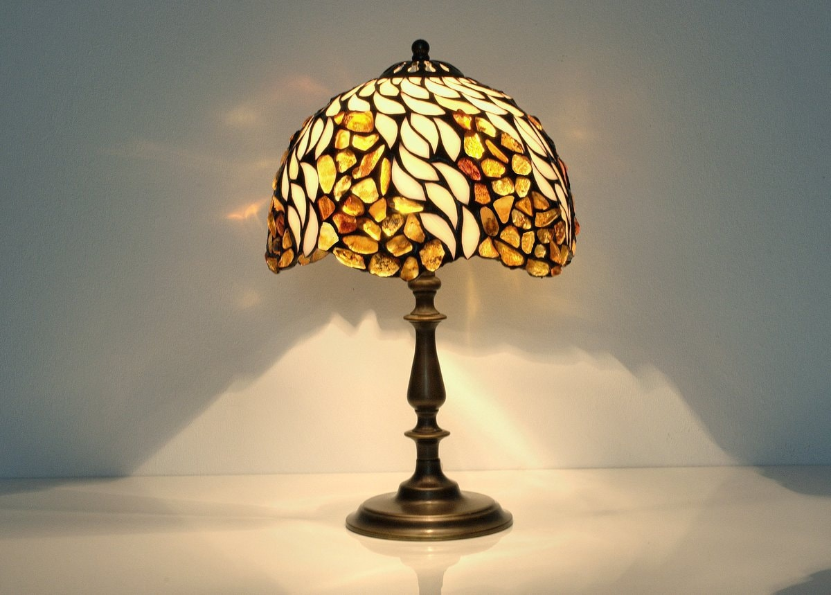 Lamp bedside. Lamp table. Lamp Stained glass. Tiffany lamp. Lamps pair. Lamp for nightstand. Lamp pair brass. Lamp with glass shade
