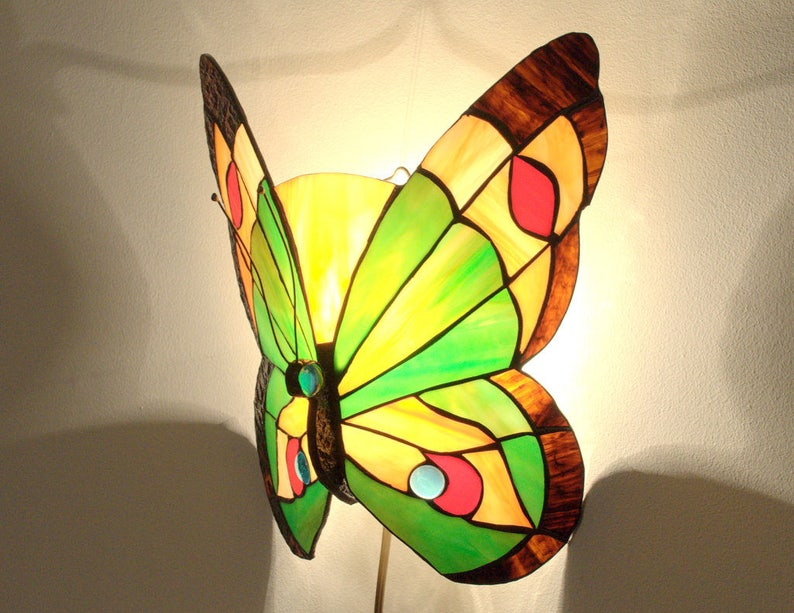 Papillon applique lampe de style tiffany applique etsy
