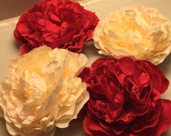 Cream and Red Peony 1940's styled hair clips