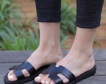 e8fe43e396a4 Black Ladies Leather Sandals