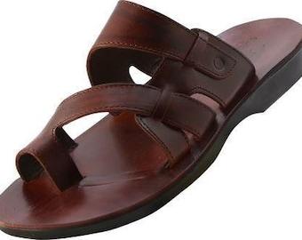 Indische teenslippers sandalen in leer