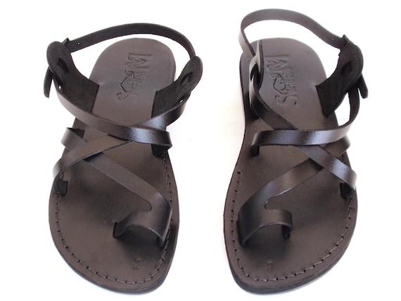 Spartan Grecian Summer Roman Greek style KIBUTZ Brown Strappy Summer Jesus Sandals for Men Men/'s Leather Flats Classic Slide Flip Flops