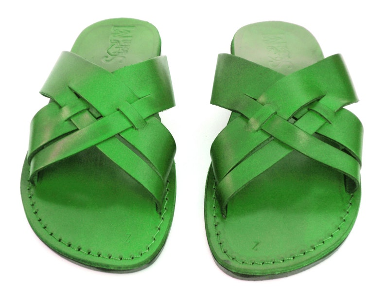 2e02afd527fe64 New Men Leather Sandal Green Jesus Sandal Slip on Sandals | Etsy