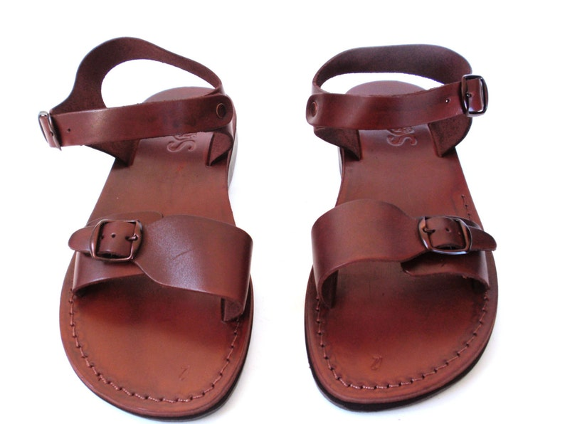 16e696b0c74f5 Brown Strappy Summer Jesus Sandals for Men, Men's Leather Flats Classic  Slide Flip Flops, Spartan Grecian Summer Roman Greek style, KIBUTZ