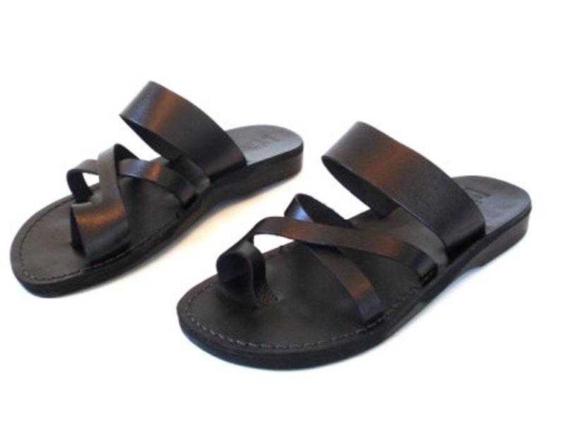 1528804c9f4e9 BLACK Strappy Summer Sandals for Men, Jesus Sandals, Men's Leather Flats  Classic Flip Flops, Spartan Grecian Roman Greek style, ROMAN