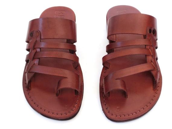1c48c217b27ea Brown Greek style Handmade Hermes Leather Spartan Sandals for