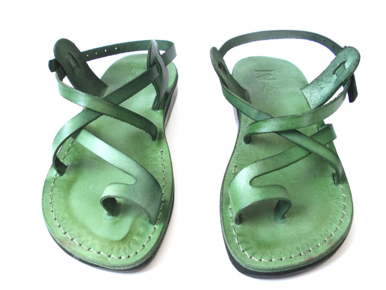 470026075b610 Green Toe Ring Summer Jesus Leather Sandals for Men, Men's Summer Classic  Flats Flip Flops, Spartan Grecian Roman Greek style, TEL AVIV