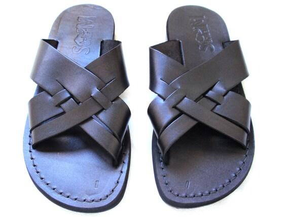 New Men's Jesus Leather Summer Sandals, Black Elegant Men Sandals, Spartan Grecian Roman Ancient Classic Sandals, Everyday Sandals, MICHAEL