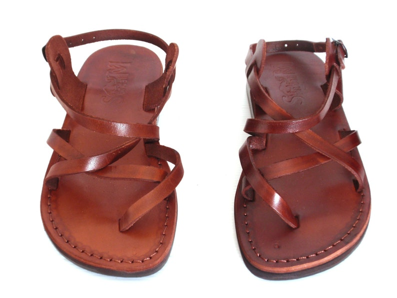 7deb2c62d2e86 Brown Genuine Leather Sandals for Women, Shoes, Flip-Flops, Flats, Slides,  Strappy, Thongs, Comfort Walking, Designer, Ladies, GLADIATOR